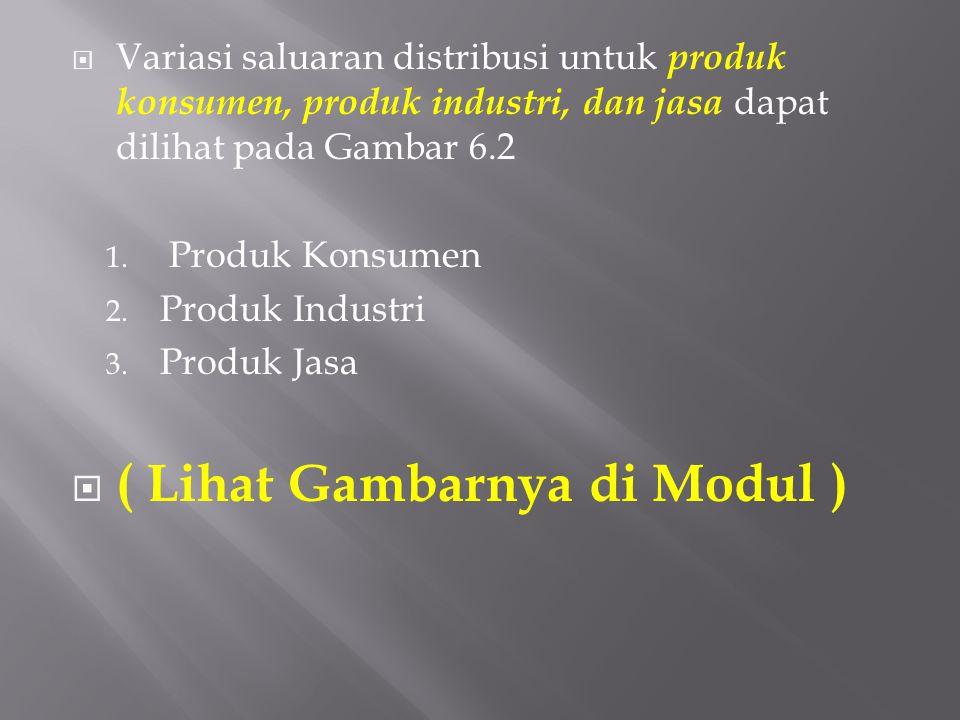 Variasi saluaran distribusi untuk produk konsumen, produk industri, dan jasa dapat dilihat pada Gambar 6.2 1. Produk Konsumen 2. Produk Industri 3.