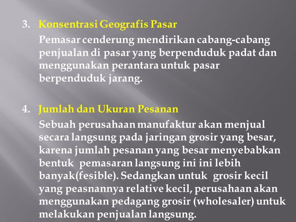 3. Konsentrasi Geografis Pasar Pemasar cenderung mendirikan cabang-cabang penjualan di pasar yang berpenduduk padat dan menggunakan perantara untuk pa