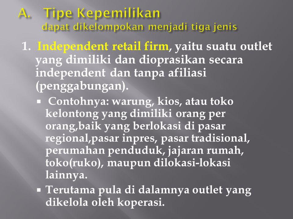 1. Independent retail firm, yaitu suatu outlet yang dimiliki dan dioprasikan secara independent dan tanpa afiliasi (penggabungan).  Contohnya: warung