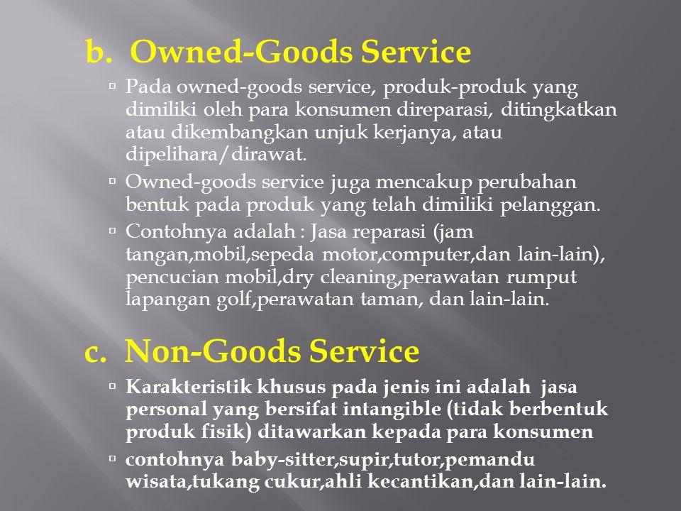 b. Owned-Goods Service  Pada owned-goods service, produk-produk yang dimiliki oleh para konsumen direparasi, ditingkatkan atau dikembangkan unjuk ker