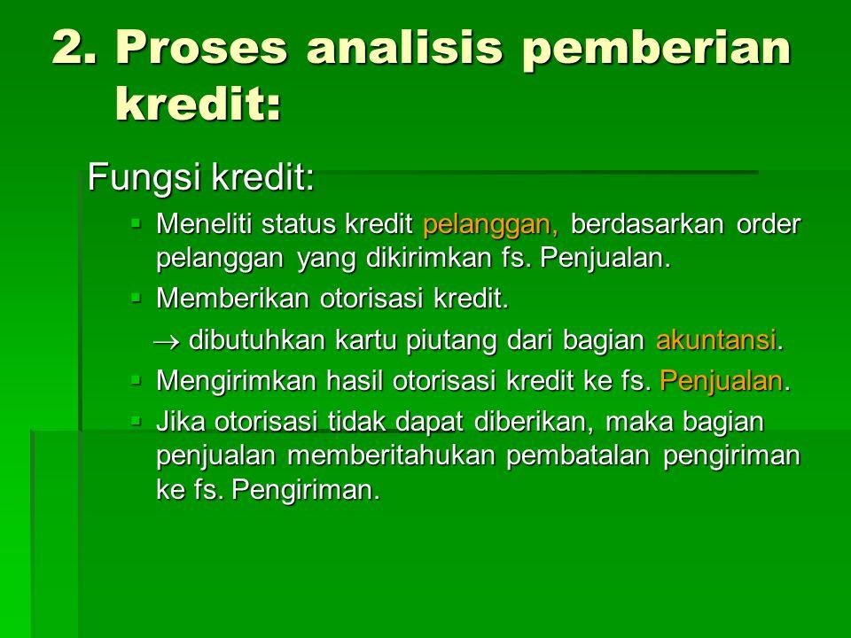 2. Proses analisis pemberian kredit: Fungsi kredit:  Meneliti status kredit pelanggan, berdasarkan order pelanggan yang dikirimkan fs. Penjualan.  M