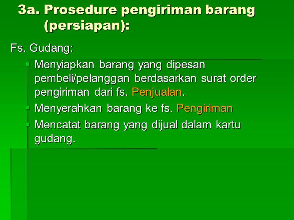 3a. Prosedure pengiriman barang (persiapan): Fs. Gudang:  Menyiapkan barang yang dipesan pembeli/pelanggan berdasarkan surat order pengiriman dari fs