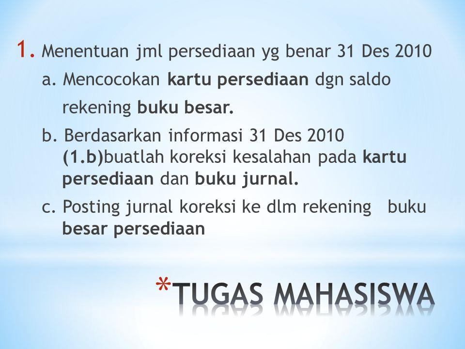 1.Menentuan jml persediaan yg benar 31 Des 2010 a.