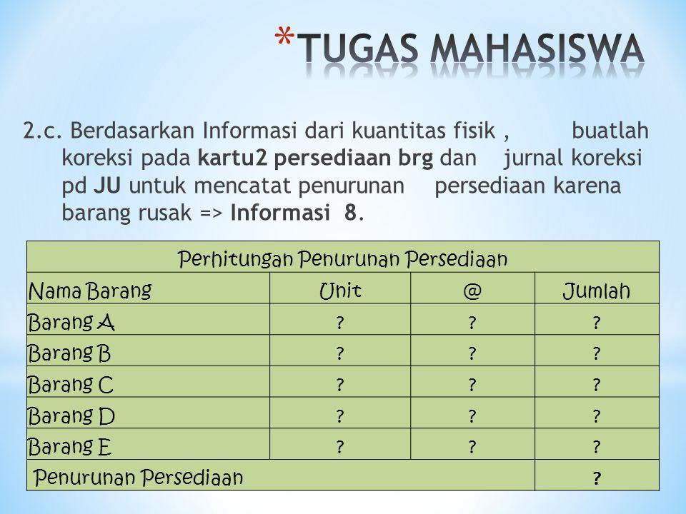 2.c. Berdasarkan Informasi dari kuantitas fisik, buatlah koreksi pada kartu2 persediaan brg dan jurnal koreksi pd JU untuk mencatat penurunan persedia