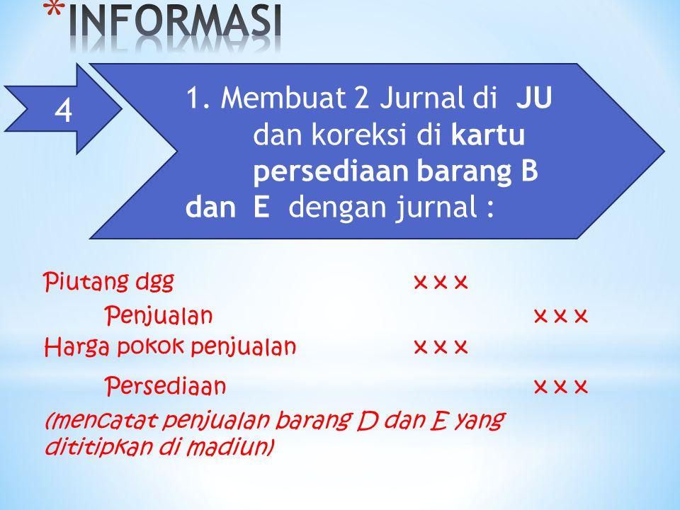 4 1. Membuat 2 Jurnal di JU dan koreksi di kartu persediaan barang B dan E dengan jurnal : Piutang dggx x x Penjualanx x x Harga pokok penjualanx x x