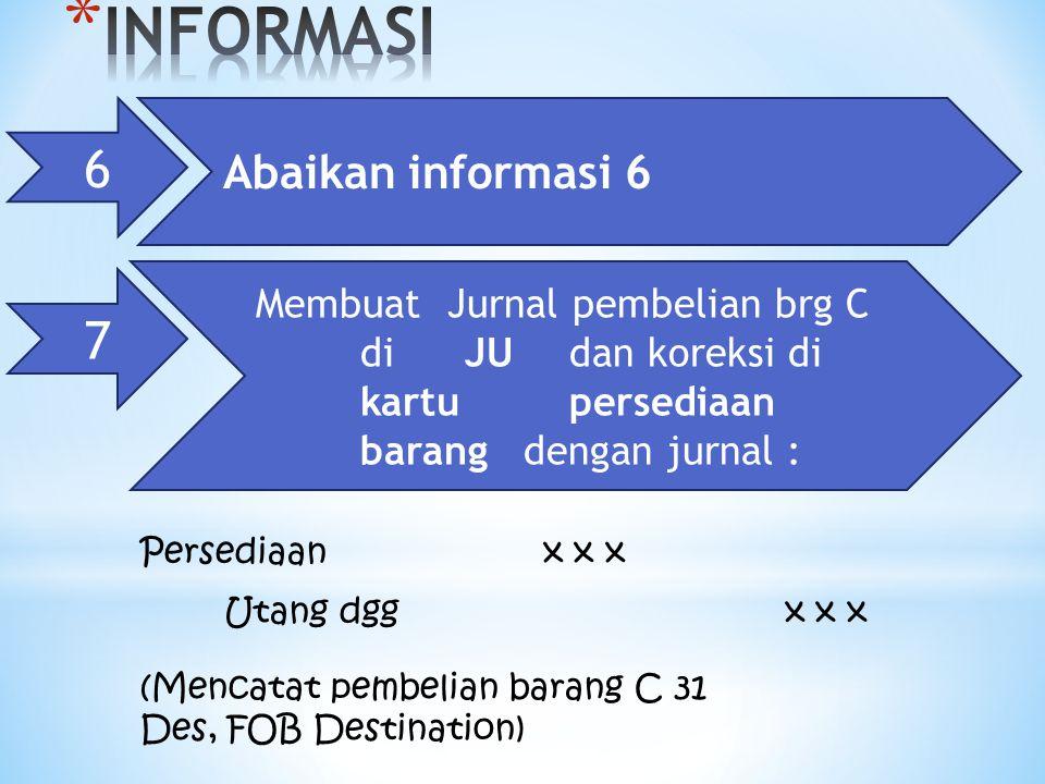 6 Abaikan informasi 6 Persediaanx x x Utang dggx x x (Mencatat pembelian barang C 31 Des, FOB Destination) 7 Membuat Jurnal pembelian brg C di JU dan koreksi di kartu persediaan barang dengan jurnal :