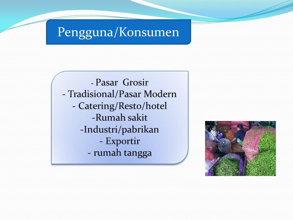 Pengguna/Konsumen - Pasar Grosir - Tradisional/Pasar Modern - Catering/Resto/hotel -Rumah sakit -Industri/pabrikan - Exportir - rumah tangga - Pasar G