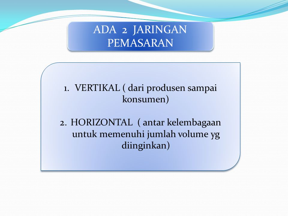 ADA 2 JARINGAN PEMASARAN 1.VERTIKAL ( dari produsen sampai konsumen) 2.HORIZONTAL ( antar kelembagaan untuk memenuhi jumlah volume yg diinginkan) 1.VERTIKAL ( dari produsen sampai konsumen) 2.HORIZONTAL ( antar kelembagaan untuk memenuhi jumlah volume yg diinginkan)