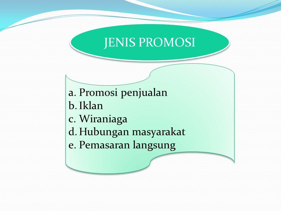 JENIS PROMOSI a.Promosi penjualan b.Iklan c.Wiraniaga d.Hubungan masyarakat e.Pemasaran langsung a.Promosi penjualan b.Iklan c.Wiraniaga d.Hubungan ma