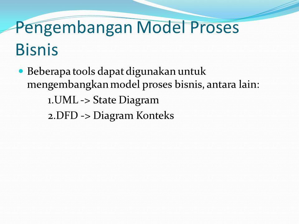 Pengembangan Model Proses Bisnis  Beberapa tools dapat digunakan untuk mengembangkan model proses bisnis, antara lain: 1.UML -> State Diagram 2.DFD -