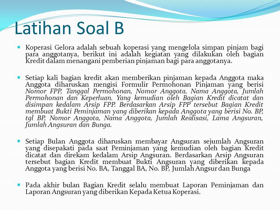 Latihan Soal B  Koperasi Gelora adalah sebuah koperasi yang mengelola simpan pinjam bagi para anggotanya, berikut ini adalah kegiatan yang dilakukan