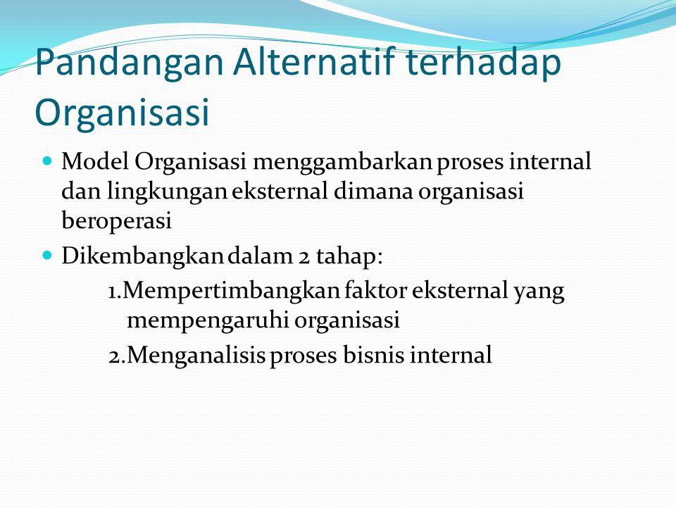 Pandangan Alternatif terhadap Organisasi  Model Organisasi menggambarkan proses internal dan lingkungan eksternal dimana organisasi beroperasi  Dike