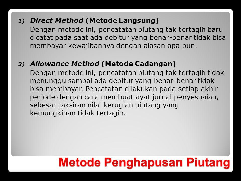 Metode Penghapusan Piutang 1) Direct Method (Metode Langsung) Dengan metode ini, pencatatan piutang tak tertagih baru dicatat pada saat ada debitur ya