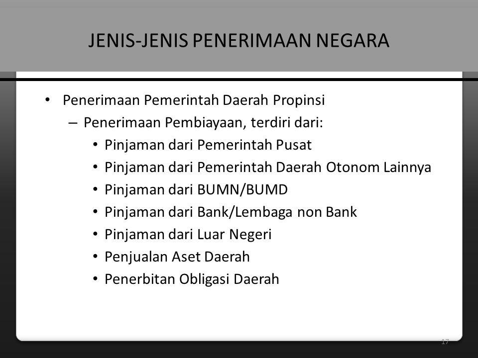17 JENIS-JENIS PENERIMAAN NEGARA • Penerimaan Pemerintah Daerah Propinsi – Penerimaan Pembiayaan, terdiri dari: • Pinjaman dari Pemerintah Pusat • Pinjaman dari Pemerintah Daerah Otonom Lainnya • Pinjaman dari BUMN/BUMD • Pinjaman dari Bank/Lembaga non Bank • Pinjaman dari Luar Negeri • Penjualan Aset Daerah • Penerbitan Obligasi Daerah