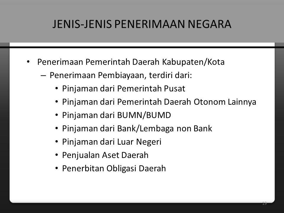 19 JENIS-JENIS PENERIMAAN NEGARA • Penerimaan Pemerintah Daerah Kabupaten/Kota – Penerimaan Pembiayaan, terdiri dari: • Pinjaman dari Pemerintah Pusat • Pinjaman dari Pemerintah Daerah Otonom Lainnya • Pinjaman dari BUMN/BUMD • Pinjaman dari Bank/Lembaga non Bank • Pinjaman dari Luar Negeri • Penjualan Aset Daerah • Penerbitan Obligasi Daerah