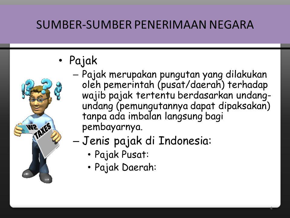 5 SUMBER-SUMBER PENERIMAAN NEGARA – Jenis pajak di Indonesia: • Pajak Pusat: – Pajak Penghasilan (PPh)  – Pajak Pertambahan Nilai Barang dan Jasa (PPN)  – Pajak Penjualan atas Barang Mewah (PPn-BM)  – Pajak Bumi dan Bangunan (PBB)  – Bea Perolehan Hak atas Tanah dan Bangunan (BPHTB)  – Bea Meterai – Bea Masuk – Cukai – Pajak Ekspor