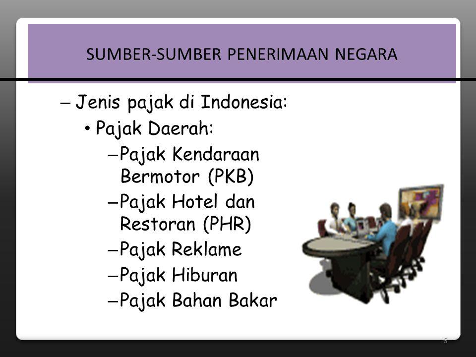6 SUMBER-SUMBER PENERIMAAN NEGARA – Jenis pajak di Indonesia: • Pajak Daerah: – Pajak Kendaraan Bermotor (PKB)  – Pajak Hotel dan Restoran (PHR)  – Pajak Reklame – Pajak Hiburan – Pajak Bahan Bakar