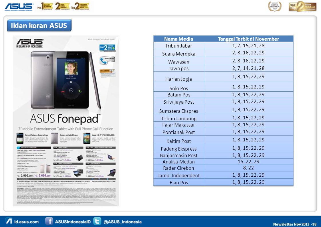 Newsletter Nov 2013 -38 Iklan koran ASUS