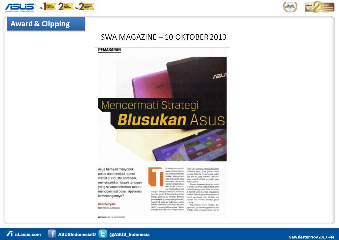 Newsletter Nov 2013 -44 Award & Clipping SWA MAGAZINE – 10 OKTOBER 2013
