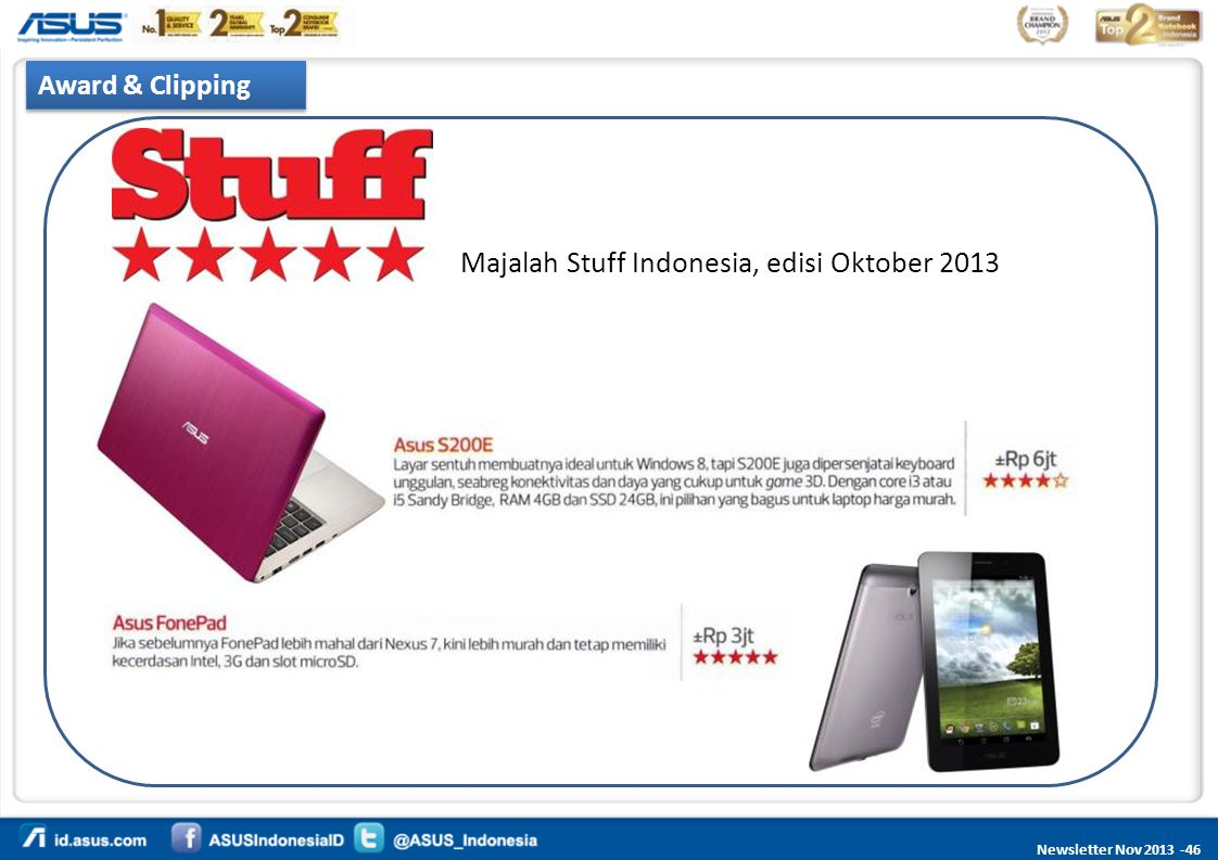 Newsletter Nov 2013 -46 Award & Clipping Majalah Stuff Indonesia, edisi Oktober 2013