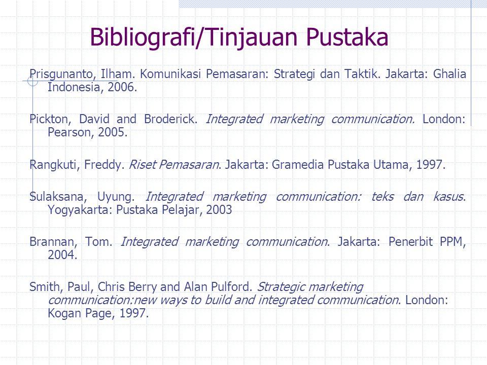 Bibliografi/Tinjauan Pustaka Prisgunanto, Ilham.Komunikasi Pemasaran: Strategi dan Taktik.