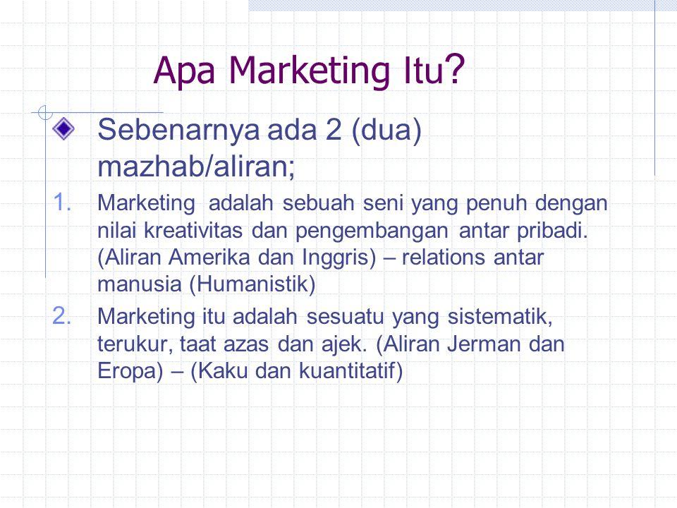 Apa Marketing Itu .Sebenarnya ada 2 (dua) mazhab/aliran; 1.