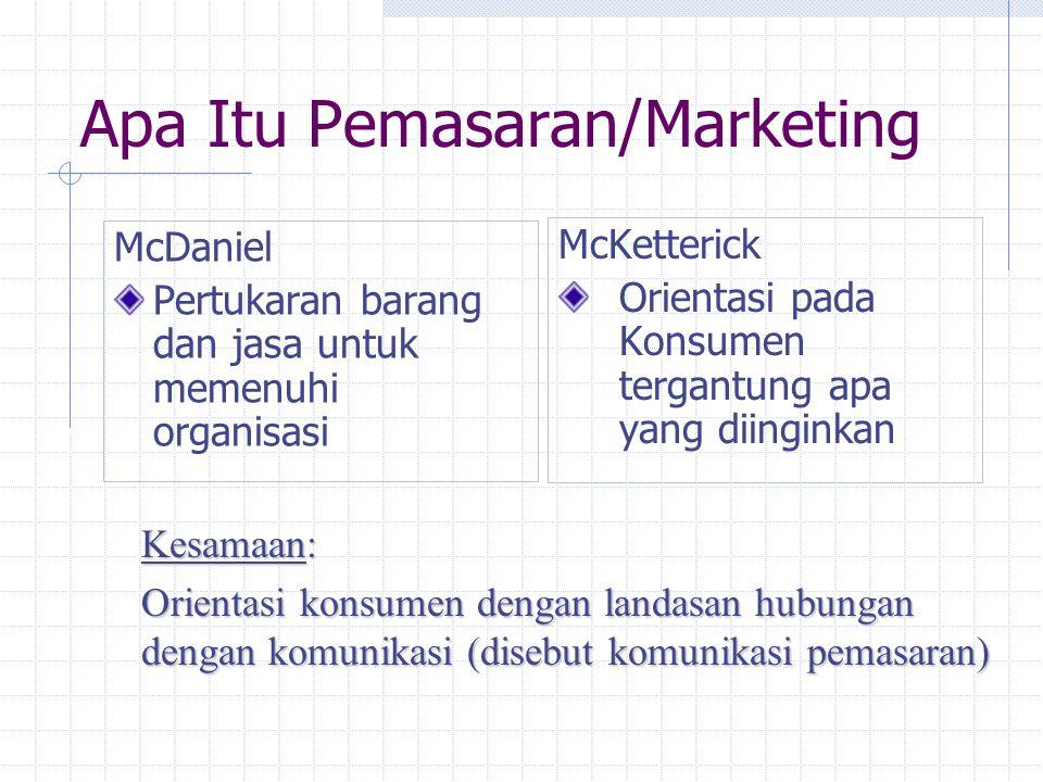Apa Itu Pemasaran/Marketing McDaniel Pertukaran barang dan jasa untuk memenuhi organisasi McKetterick Orientasi pada Konsumen tergantung apa yang diinginkan Kesamaan: Orientasi konsumen dengan landasan hubungan dengan komunikasi (disebut komunikasi pemasaran)
