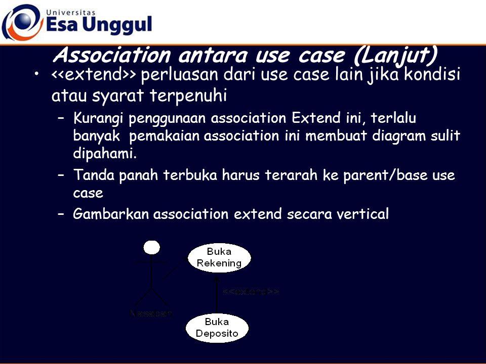 • > perluasan dari use case lain jika kondisi atau syarat terpenuhi –Kurangi penggunaan association Extend ini, terlalu banyak pemakaian association ini membuat diagram sulit dipahami.