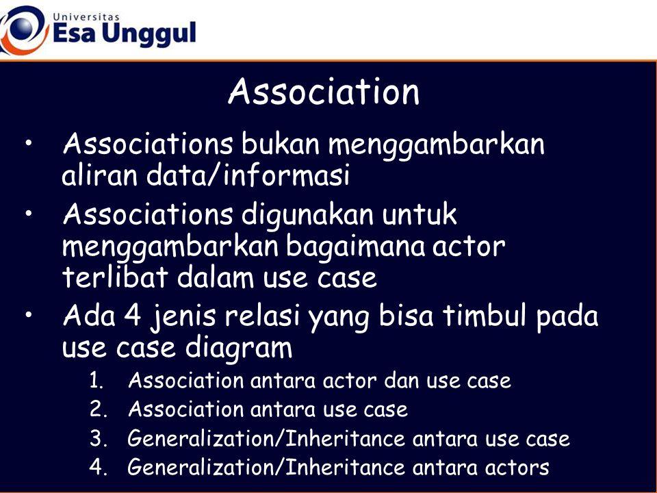 Association •Associations bukan menggambarkan aliran data/informasi •Associations digunakan untuk menggambarkan bagaimana actor terlibat dalam use case •Ada 4 jenis relasi yang bisa timbul pada use case diagram 1.Association antara actor dan use case 2.Association antara use case 3.Generalization/Inheritance antara use case 4.Generalization/Inheritance antara actors