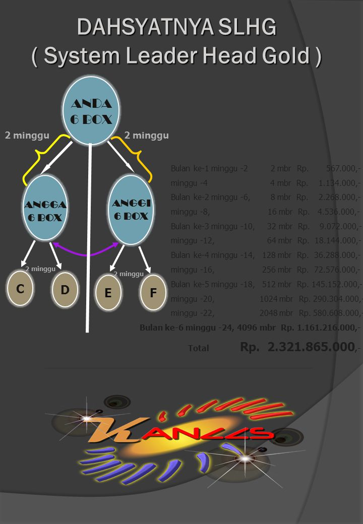 ANGGA 6 BOX C D E F 2 minggu ANGGI 6 BOX ANDA 6 BOX 2 minggu DAHSYATNYA SLHG ( System Leader Head Gold ) Bulan ke-1 minggu -2 2 mbr Rp. 567.000,- ming