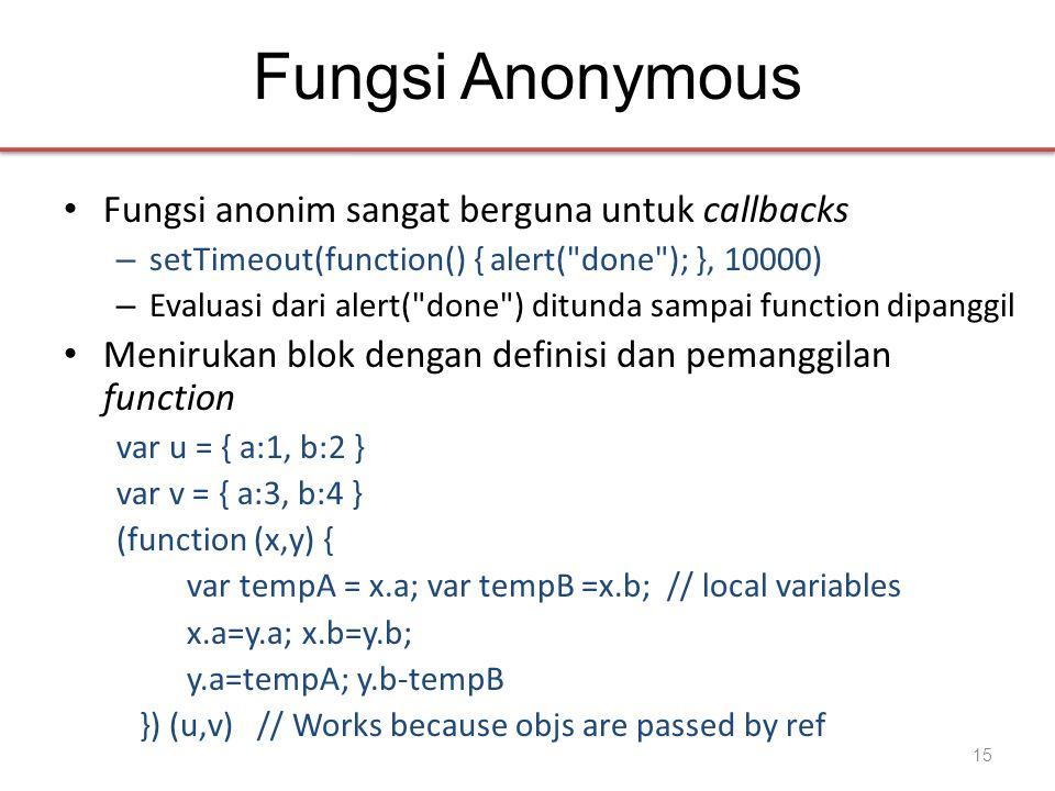 Fungsi Anonymous • Fungsi anonim sangat berguna untuk callbacks – setTimeout(function() { alert(