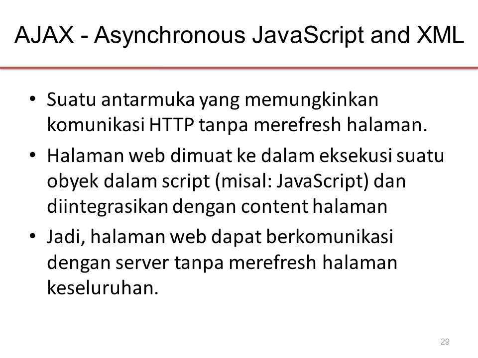 AJAX - Asynchronous JavaScript and XML • Suatu antarmuka yang memungkinkan komunikasi HTTP tanpa merefresh halaman. • Halaman web dimuat ke dalam ekse