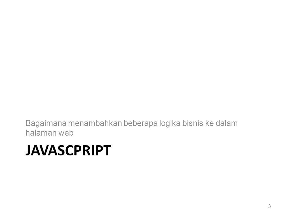 JAVASCPRIPT Bagaimana menambahkan beberapa logika bisnis ke dalam halaman web 3