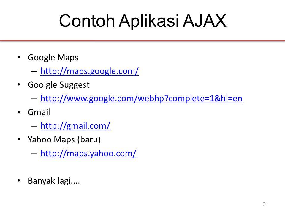 Contoh Aplikasi AJAX • Google Maps – http://maps.google.com/ http://maps.google.com/ • Goolgle Suggest – http://www.google.com/webhp complete=1&hl=en http://www.google.com/webhp complete=1&hl=en • Gmail – http://gmail.com/ http://gmail.com/ • Yahoo Maps (baru) – http://maps.yahoo.com/ http://maps.yahoo.com/ • Banyak lagi....