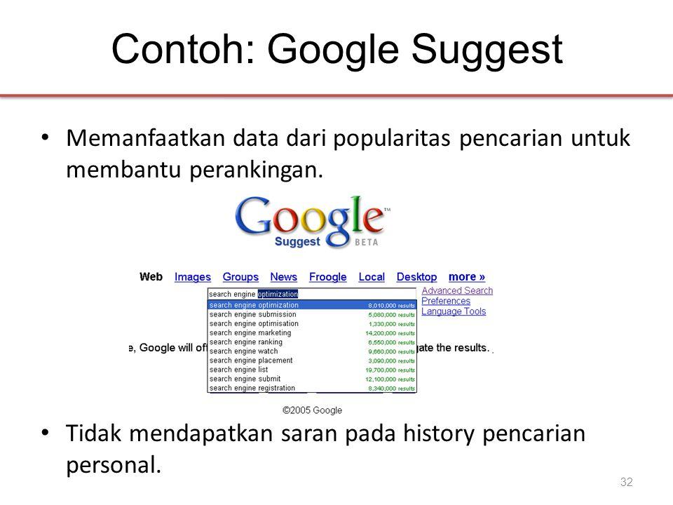 Contoh: Google Suggest • Memanfaatkan data dari popularitas pencarian untuk membantu perankingan. • Tidak mendapatkan saran pada history pencarian per