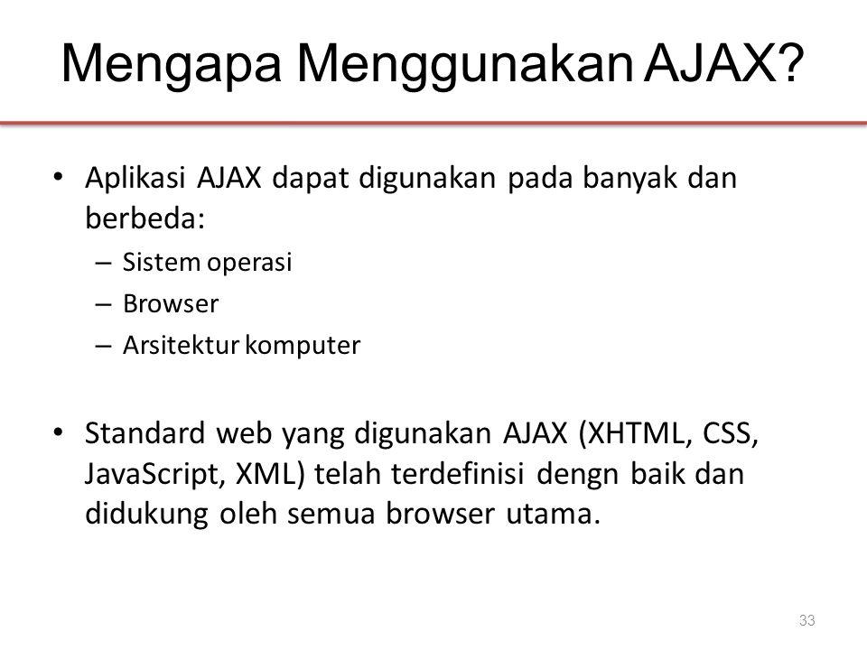 Mengapa Menggunakan AJAX? • Aplikasi AJAX dapat digunakan pada banyak dan berbeda: – Sistem operasi – Browser – Arsitektur komputer • Standard web yan