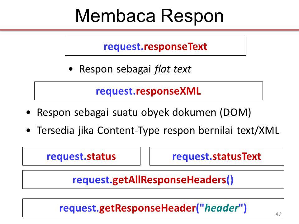 Membaca Respon request.responseText •Respon sebagai flat text request.responseXML •Respon sebagai suatu obyek dokumen (DOM) •Tersedia jika Content-Type respon bernilai text/XML request.statusrequest.statusText request.getAllResponseHeaders() request.getResponseHeader( header ) 49