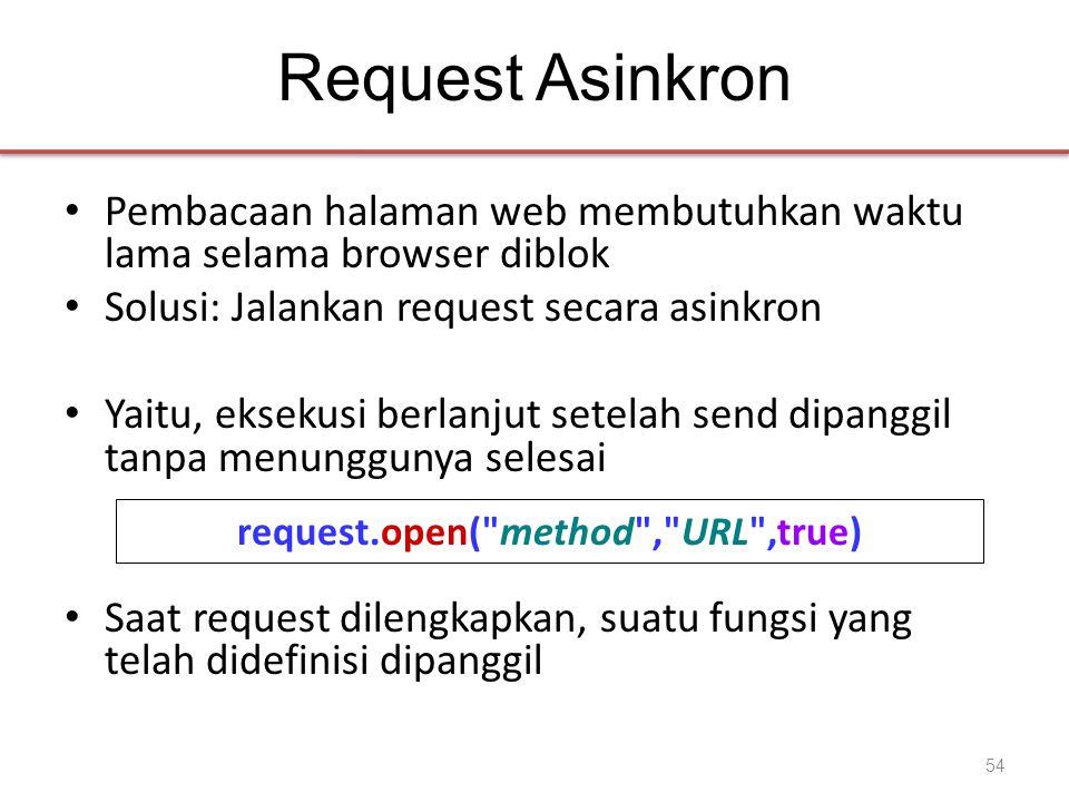Request Asinkron • Pembacaan halaman web membutuhkan waktu lama selama browser diblok • Solusi: Jalankan request secara asinkron • Yaitu, eksekusi ber