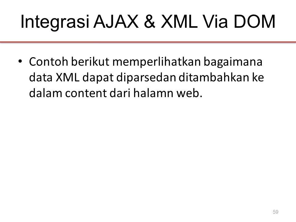 Integrasi AJAX & XML Via DOM • Contoh berikut memperlihatkan bagaimana data XML dapat diparsedan ditambahkan ke dalam content dari halamn web. 59