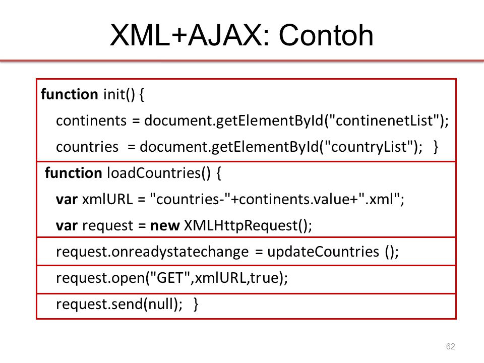 XML+AJAX: Contoh function init() { continents = document.getElementById( continenetList ); countries = document.getElementById( countryList ); } function loadCountries() { var xmlURL = countries- +continents.value+ .xml ; var request = new XMLHttpRequest(); request.onreadystatechange = updateCountries (); request.open( GET ,xmlURL,true); request.send(null); } 62