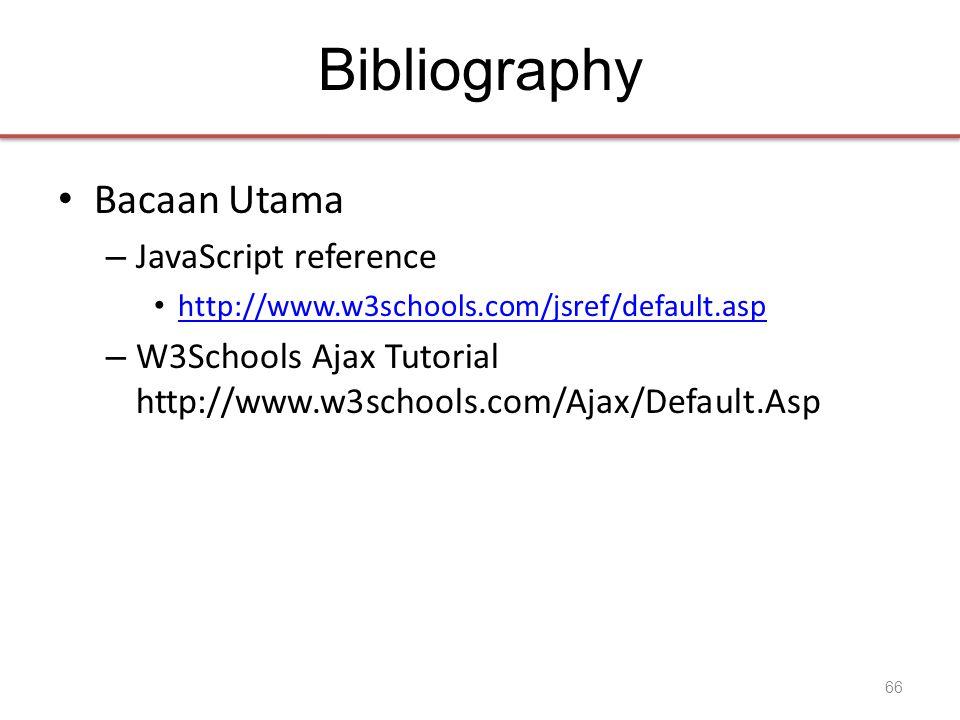 Bibliography • Bacaan Utama – JavaScript reference • http://www.w3schools.com/jsref/default.asp http://www.w3schools.com/jsref/default.asp – W3Schools Ajax Tutorial http://www.w3schools.com/Ajax/Default.Asp 66