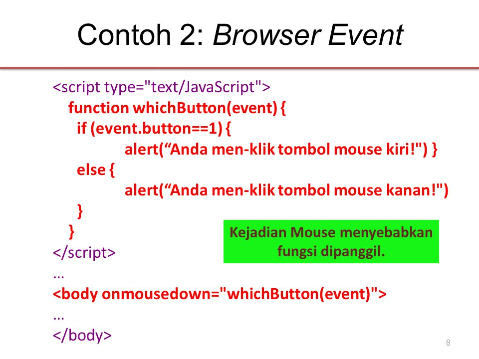 "Contoh 2: Browser Event function whichButton(event) { if (event.button==1) { alert(""Anda men-klik tombol mouse kiri!"