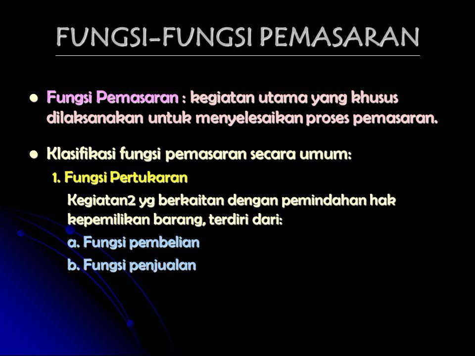 FUNGSI-FUNGSI PEMASARAN FFFFungsi Pemasaran : kegiatan utama yang khusus dilaksanakan untuk menyelesaikan proses pemasaran. KKKKlasifikasi fun