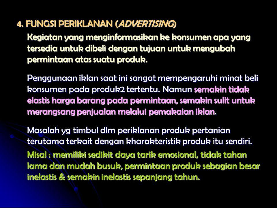 4. FUNGSI PERIKLANAN (ADVERTISING) Kegiatan yang menginformasikan ke konsumen apa yang tersedia untuk dibeli dengan tujuan untuk mengubah permintaan a