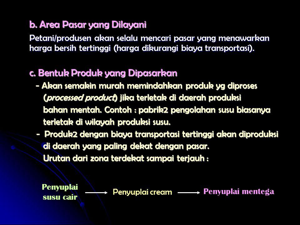 b. Area Pasar yang Dilayani Petani/produsen akan selalu mencari pasar yang menawarkan harga bersih tertinggi (harga dikurangi biaya transportasi). c.