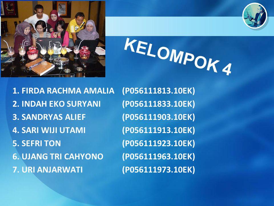 KELOMPOK 4 1. FIRDA RACHMA AMALIA (P056111813.10EK) 2. INDAH EKO SURYANI (P056111833.10EK) 3. SANDRYAS ALIEF (P056111903.10EK) 4. SARI WIJI UTAMI (P05