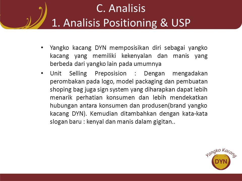 C. Analisis 1. Analisis Positioning & USP • Yangko kacang DYN memposisikan diri sebagai yangko kacang yang memiliki kekenyalan dan manis yang berbeda
