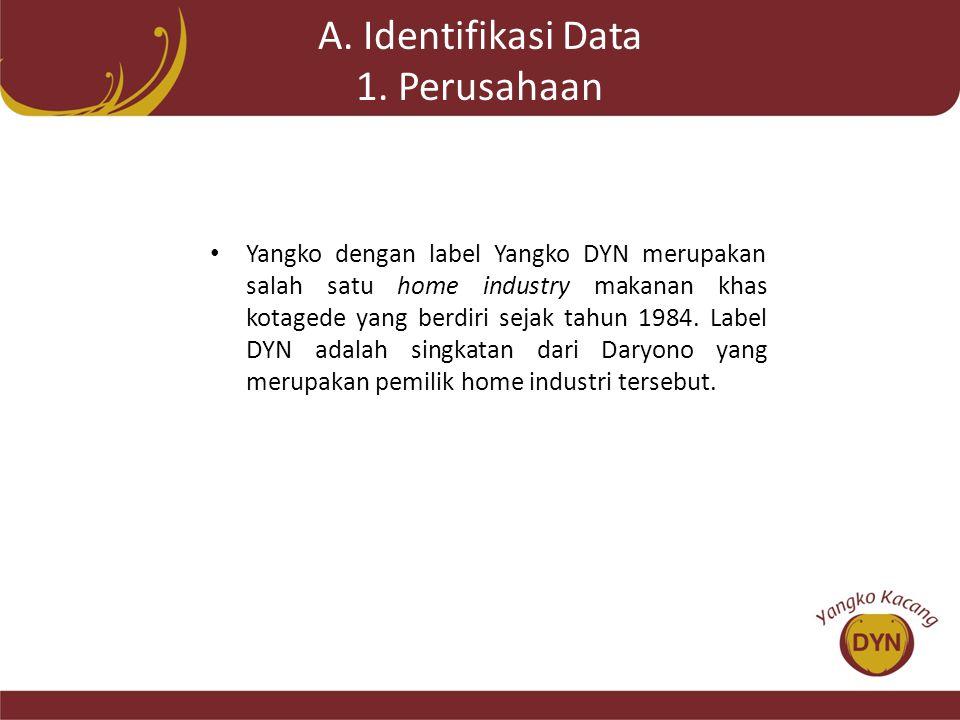 A. Identifikasi Data 1. Perusahaan • Yangko dengan label Yangko DYN merupakan salah satu home industry makanan khas kotagede yang berdiri sejak tahun