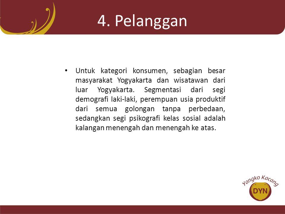 4. Pelanggan • Untuk kategori konsumen, sebagian besar masyarakat Yogyakarta dan wisatawan dari luar Yogyakarta. Segmentasi dari segi demografi laki-l