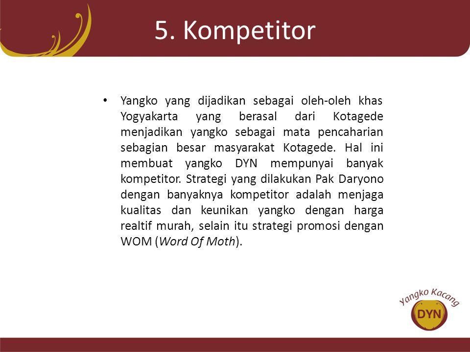 5. Kompetitor • Yangko yang dijadikan sebagai oleh-oleh khas Yogyakarta yang berasal dari Kotagede menjadikan yangko sebagai mata pencaharian sebagian